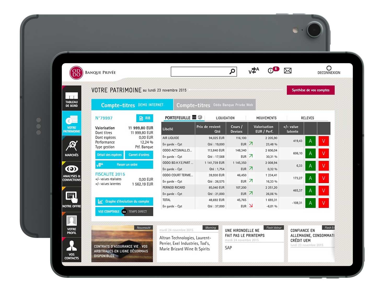 Application mobile de bourse et banque en ligne